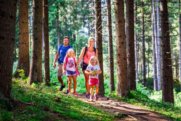 משפחה מטיילת באחד מהיערות של מוראו-מורטל