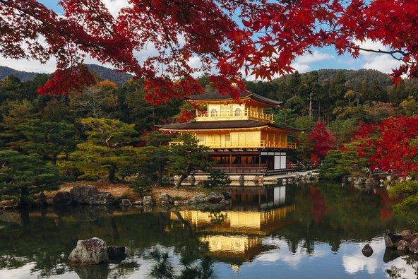 המקדש המוזהב בקיוטו משתקף במימי אגם המראה