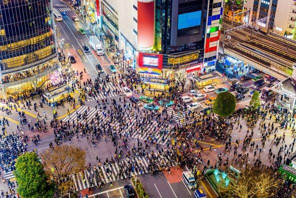 מבט מלמעלה על מעבר החצייה הסואן בעולם ברובע שיבויה