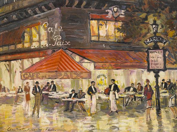 Café de la paix. ציור של קונסטנטין קורובין מראשית המאה ה-20