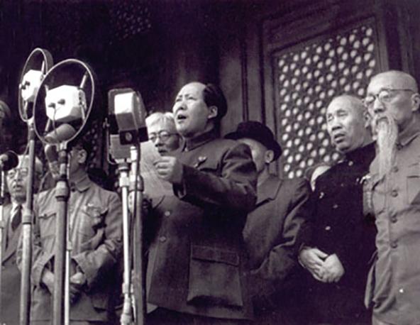 מאו מכריז על ייסוד סין העממית ב־1 באוקטובר 1949