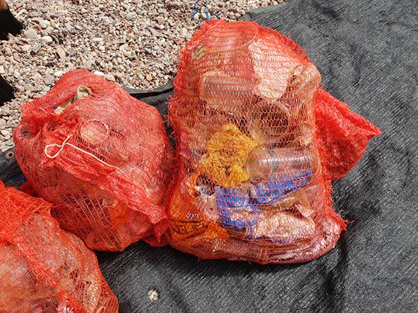 שקיות מלאות בבקבוקים, חתיכות בדים, פלסטיק ועוד - כל זה הוצא בפעם אחת, תארו לעצמכם מה עוד נמצא מתחת למים