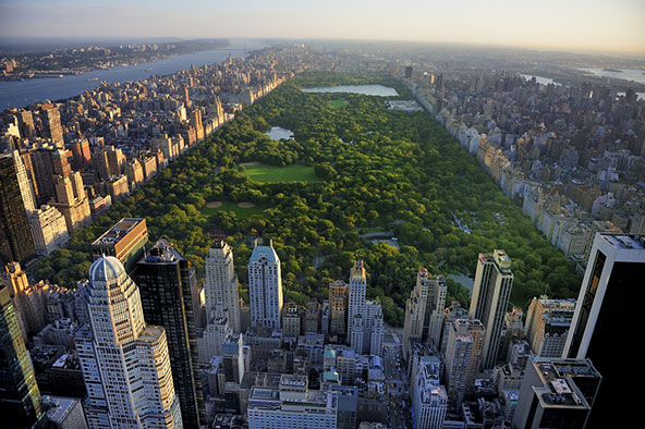 צילום אווירי של סנטרל פארק. הפארק העירוני המפורסם תוכנן ונבנה במאה ה-19