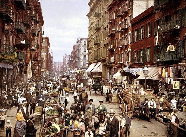 חוב מולברי בשכונת ליטל איטלי, צילום משנת 1900