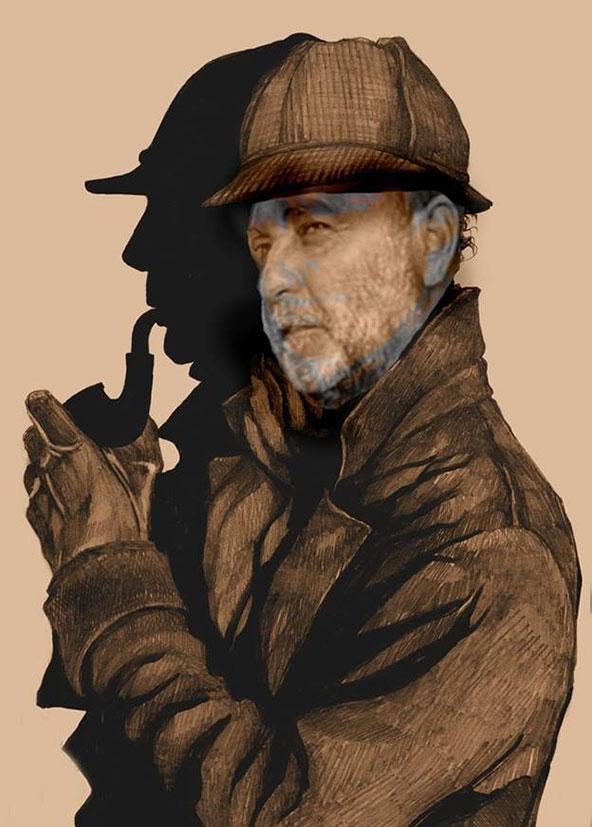 בוקי נאה בדמותו של הבלש המפורסם ביותר, שרלוק הולמס