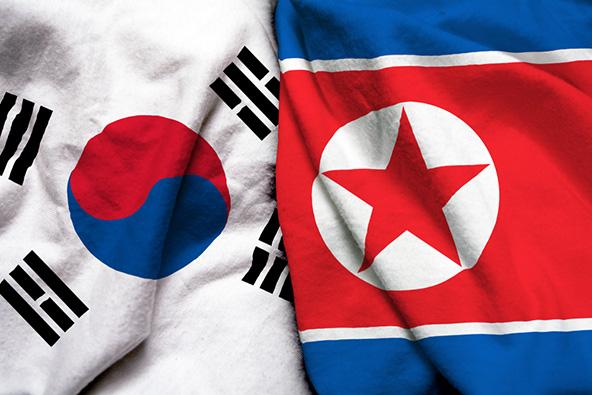 מדינה אחת שהפכה לשתיים: דגלי דרום וצפון קוריאה