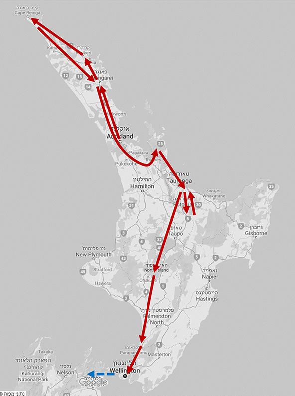 המסלול שלנו באי הצפוני (למעלה) ובאי הדרומי
