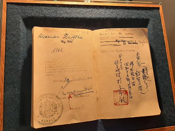 מוצג בהיכל הזיכרון לסוגיהארה ביאוטסו: אשרת מעבר שהנפיק סוגיהארה ב-31 ביולי 1940