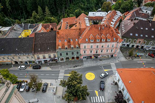 מראה העיירה יודנברג מראש המגדל שבמרכזה