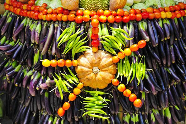 קישוטי ירקות בפסטיבל פאהיאס