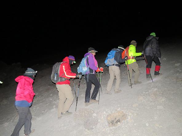 בשיפוע התלול, באמצע הלילה, בדרך לפסגה