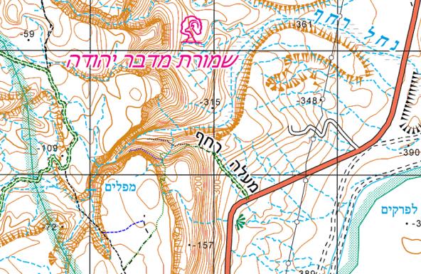 מפת נחל רחף תחתון, באדיבות עמוד ענן והמרכז למיפוי ישראל