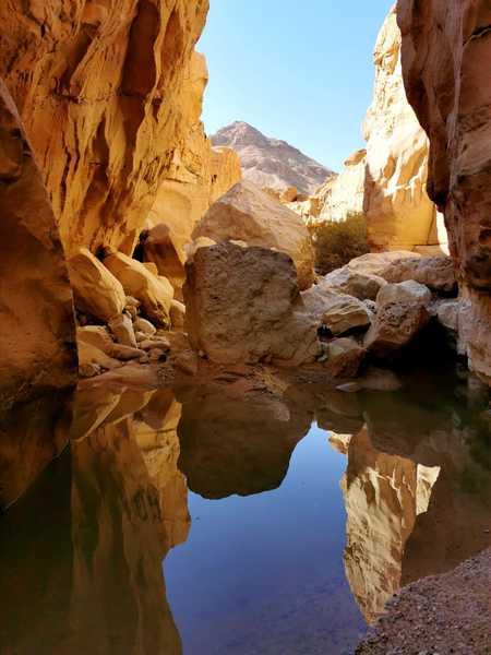 מפל מים וסידרה של גבים יפים וקרים חסמו את המשך הדרך באפיק