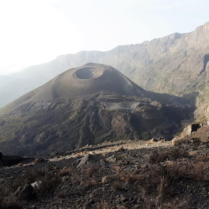 A view of the crater of the active volcano Mount Mero
