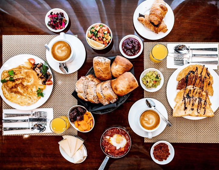 Breakfast at the David Tower Hotel.  Hungry do not leave here ...