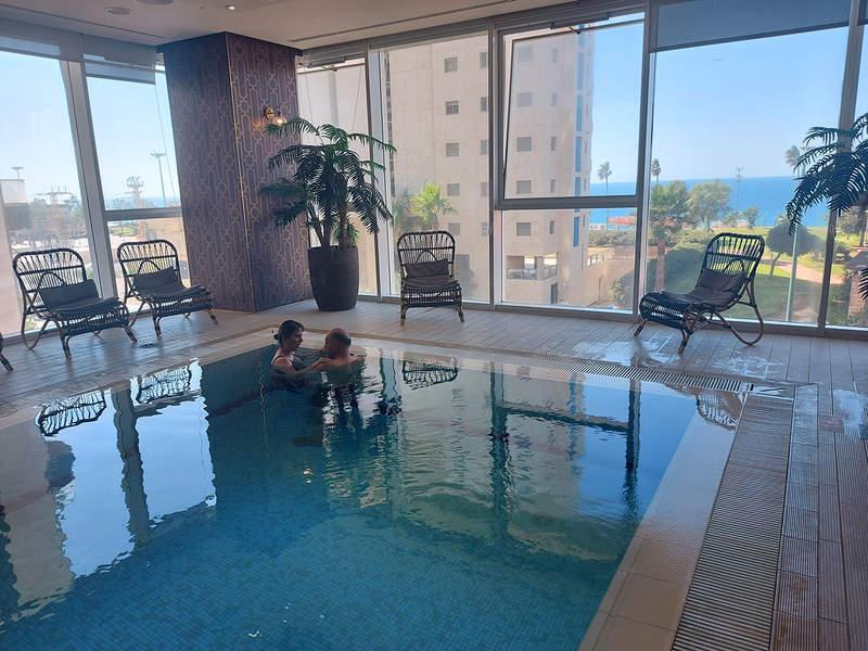 The pool overlooks the sea